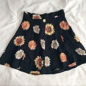 Brandy Melville Black Sunflower Mini Skirt